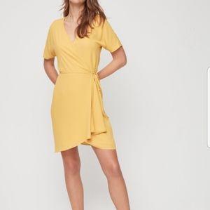Babaton Wallace yellow wrap dress